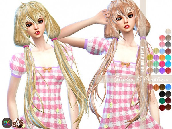 Studio K Creation: Animate hair 66   Anzu for Sims 4