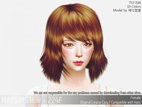 MAY Sims: May 224F hair retextured for Sims 4