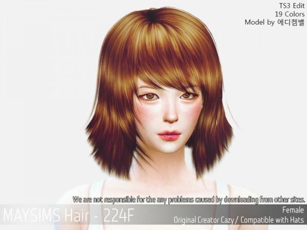MAY Sims: May 224F hair retextured for Sims 4