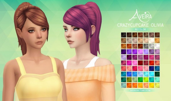 Aveira Sims 4: Crazycupcake Olivia hair rRecolor for Sims 4