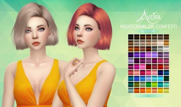 Aveira Sims 4: Nightcrawler`s Confetti hair retextured for Sims 4