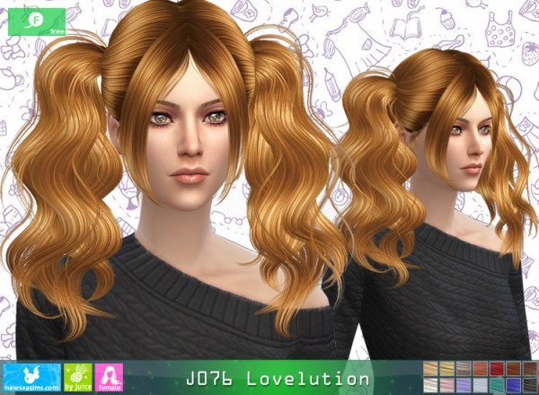 NewSea: J076 Lovelution hair for Sims 4