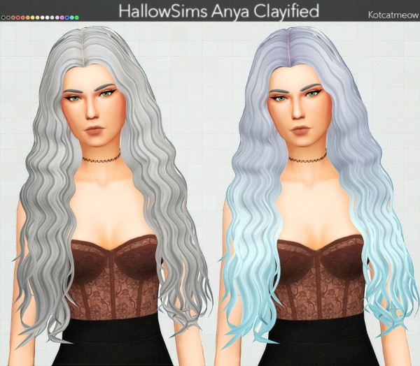 Kot Cat: Hallow`s Anya Hair Clayified for Sims 4