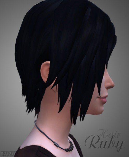 Rumoruka Raizon: Ruby hair for Sims 4