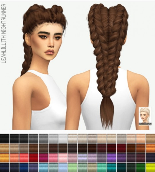 Miss Paraply: LeahLillith`s Nightrunner hair retxtured for Sims 4