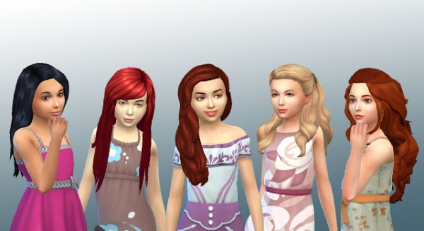 Mystufforigin: Girls Long Hair 4 for Sims 4