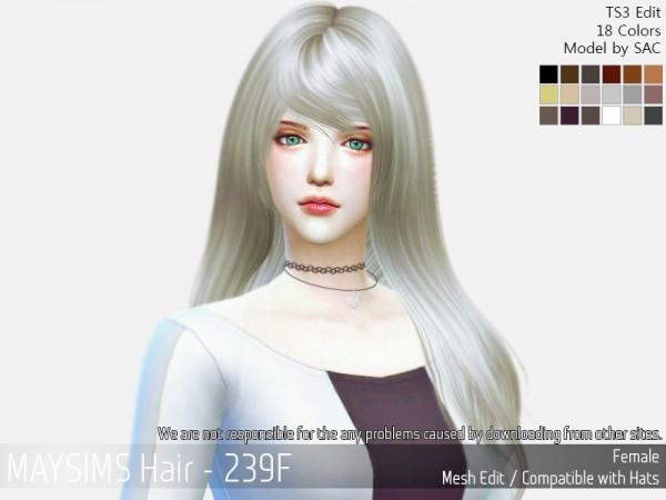 MAY Sims: May 239F hair retextured for Sims 4