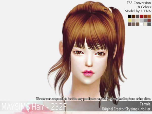 MAY Sims: May 232F hair retextured for Sims 4
