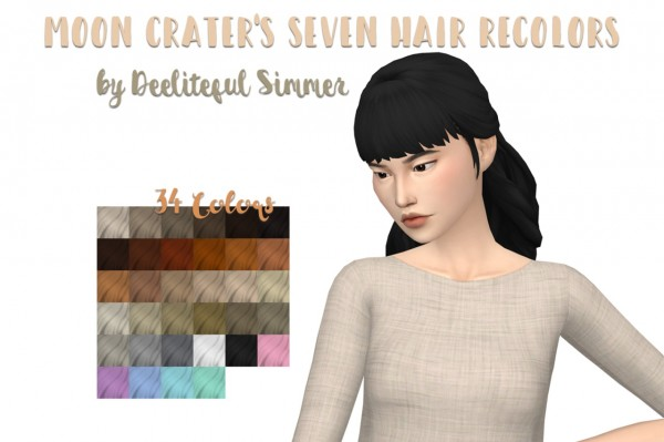 Deelitefulsimmer: Moon craters seven hair recolored for Sims 4