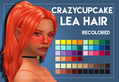 Weepingsimmer: Crazycupcakefr's Lea Hair Recolored for Sims 4
