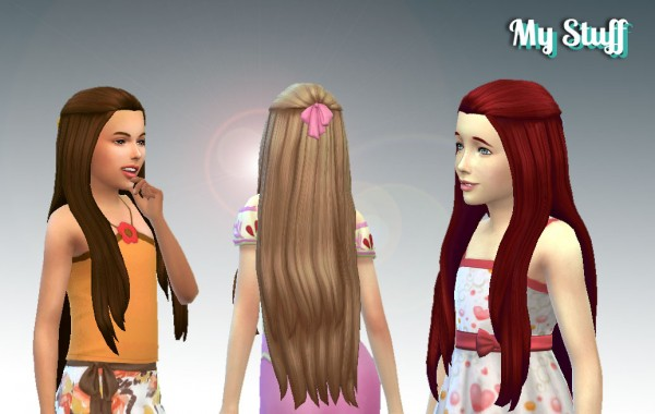 Mystufforigin: Pure Hair Version 2 + Bow for Girls for Sims 4