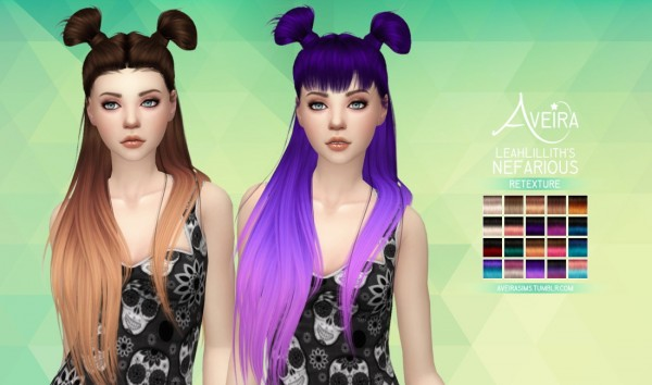 Aveira Sims 4: LeahLillith's Nefarious hair retextured for Sims 4