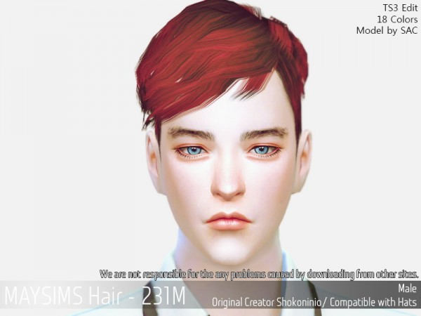 MAY Sims: May 231M hair retextured for Sims 4
