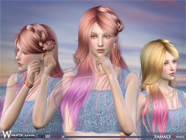The Sims Resource: Teo101F hair by Wingssims for Sims 4