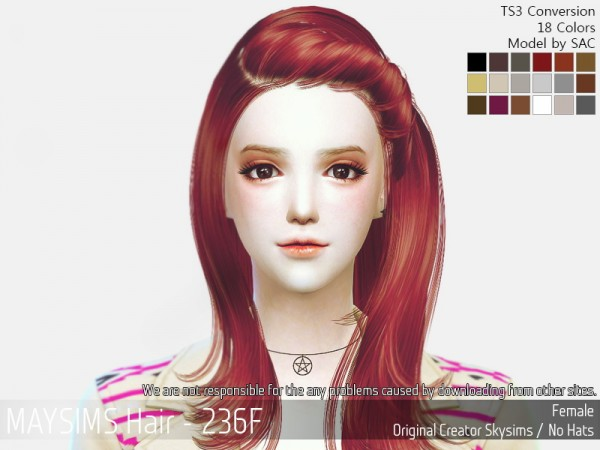 MAY Sims: May 236F hair retextured for Sims 4