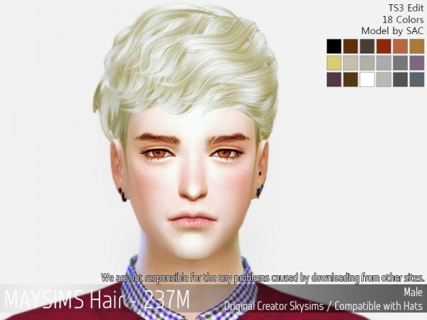 MAY Sims: May 237M hair retextured for Sims 4