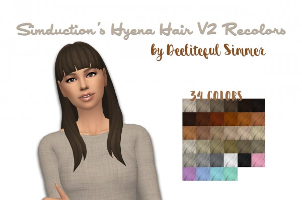 Deelitefulsimmer: Hyena hair V2 retextured for Sims 4