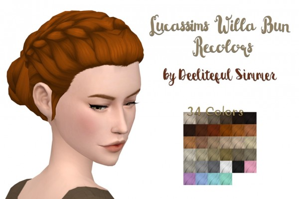 Deelitefulsimmer: Willa bun recolored for Sims 4