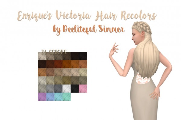 Deelitefulsimmer: Enrique`s Victoria hair recolored for Sims 4