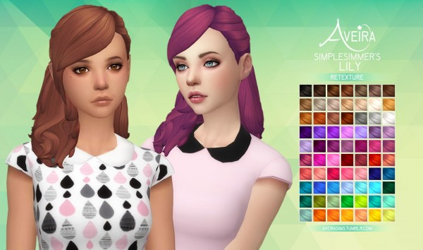 Aveira Sims 4: SimpleSimmer's Lily hair retextured for Sims 4