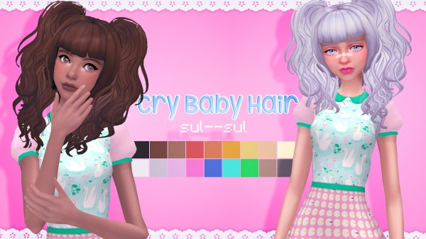 Sul Sul: Cry Baby Hair for Sims 4