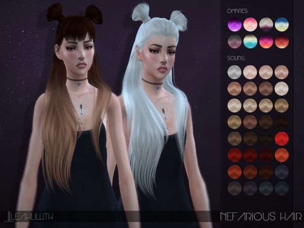 The Sims Resource: Nefarious Hair by LeahLillith for Sims 4