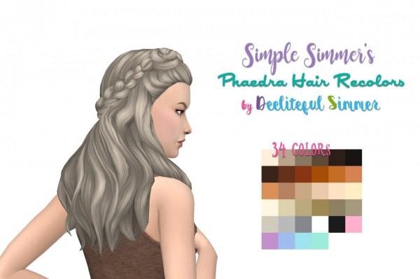 Deelitefulsimmer: Phaedra Hair recolored for Sims 4