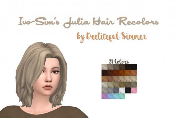 Deelitefulsimmer: Ivo Sims Julia hair recolored for Sims 4