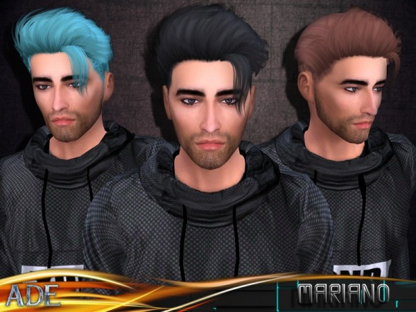 The Sims Resource: Ade   Mariano hair with bang for Sims 4