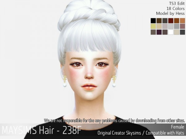 MAY Sims: May 238F hair retextured for Sims 4