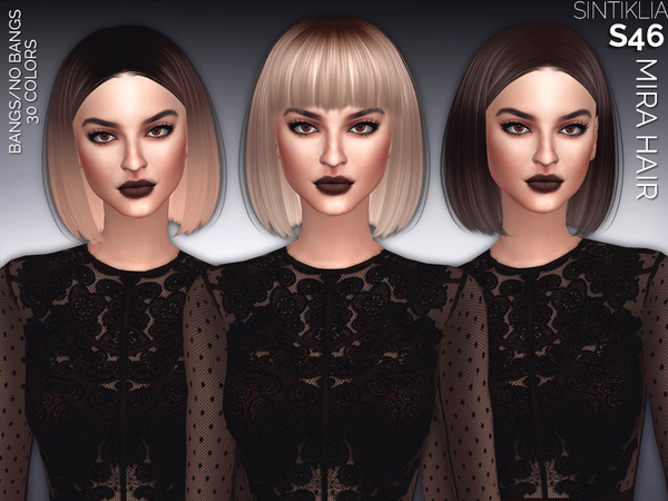 The Sims Resource: Hair 46 Mira by Sintiklia for Sims 4