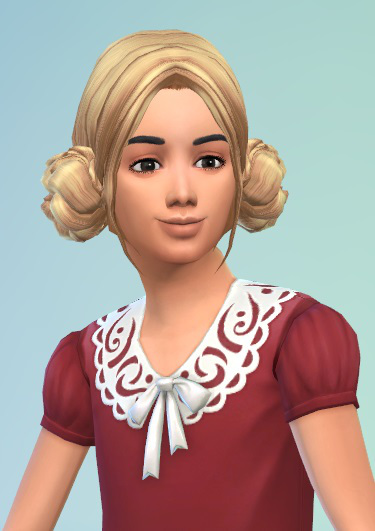 Birksches sims blog: Mother and Daughter bauns hair for Sims 4
