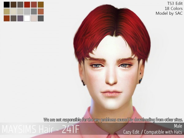 MAY Sims: May 241M hair retextured for Sims 4