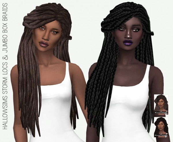 Miss Paraply: Hallow`s Storm hair retextured for Sims 4