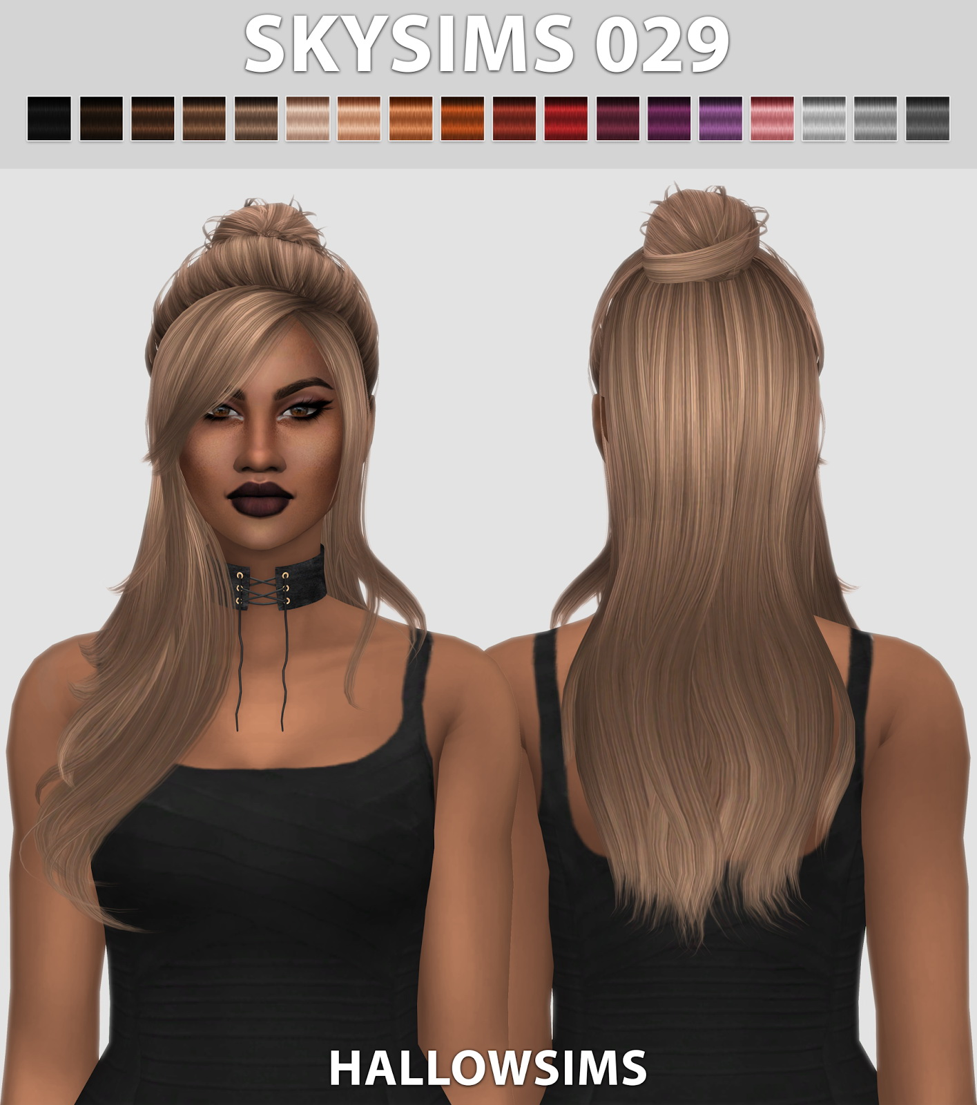 Sims 4 Hairstyles: Hallow Sims: Skysims 029 Hair Retextured