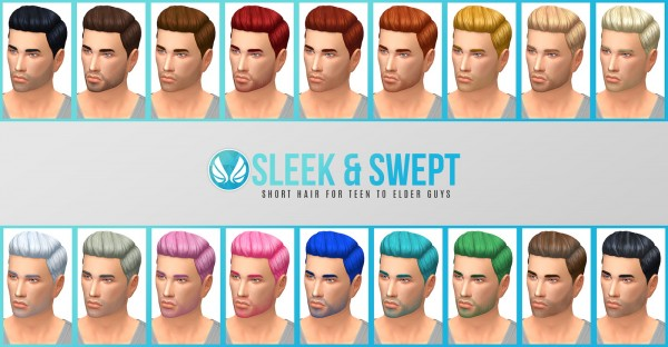 Simsational designs: Sleek and Swept Hair for him for Sims 4