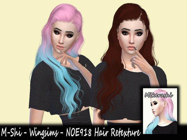 The Sims Resource: Wings NOE918 hair retextured by mikerashi for Sims 4