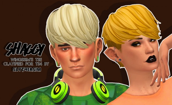 Slythersim: Wingssims TSE hair Clayified for for Sims 4