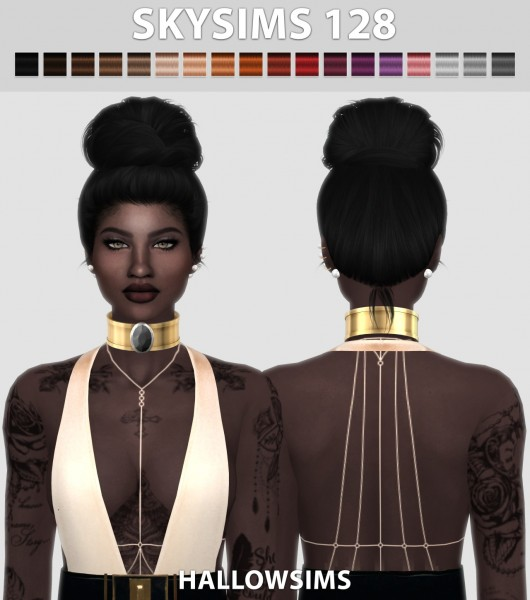 Hallow Sims: Skysims128 hair retextured for Sims 4