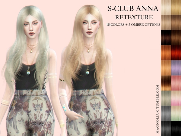 The Sims Resource: S club`s Anna Hair Retextured by magnolia cc for Sims 4