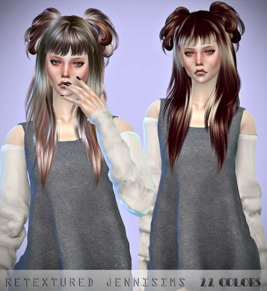 Jenni Sims: Newsea Crow and Liela hairs retextured for Sims 4