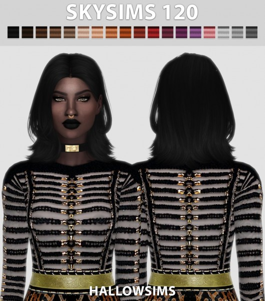 Hallow Sims: Skysims 120 hair retextured for Sims 4