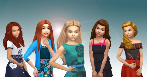 Mystufforigin: Girls Long Hair Pack 6 for Sims 4