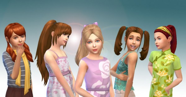 Mystufforigin: Girls Tied Hairs Pack 3 for Sims 4