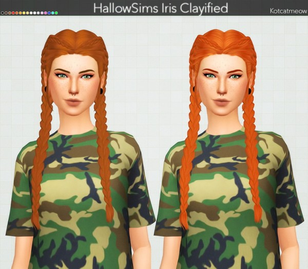 Kot Cat: HallowSims Iris Hair Clayified for Sims 4