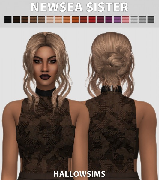 Hallow Sims: Newsea`s Sister hair retextured for Sims 4