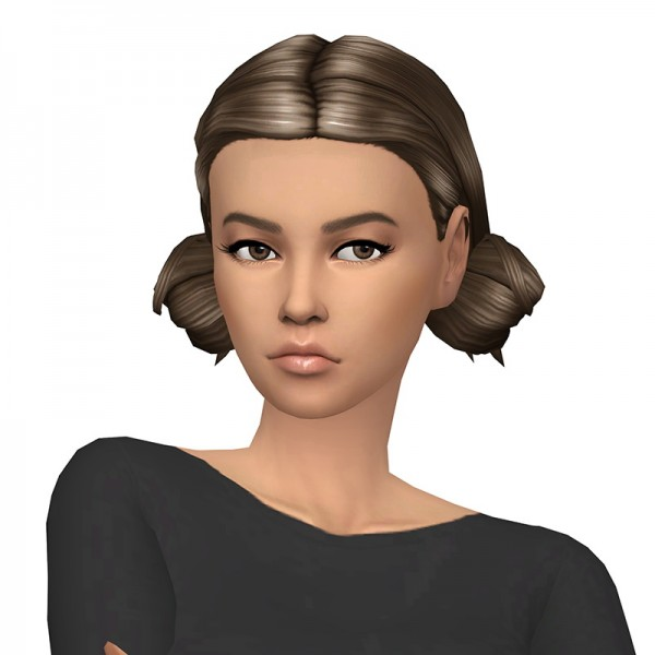 Deelitefulsimmer: Low double bun hair with and without bangs for Sims 4