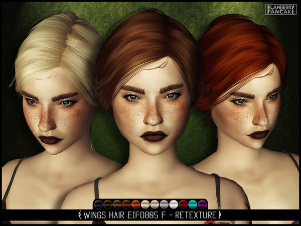 The Sims Resource: Wings EIFO805 F hair retextured by Blahberry Pancake for Sims 4