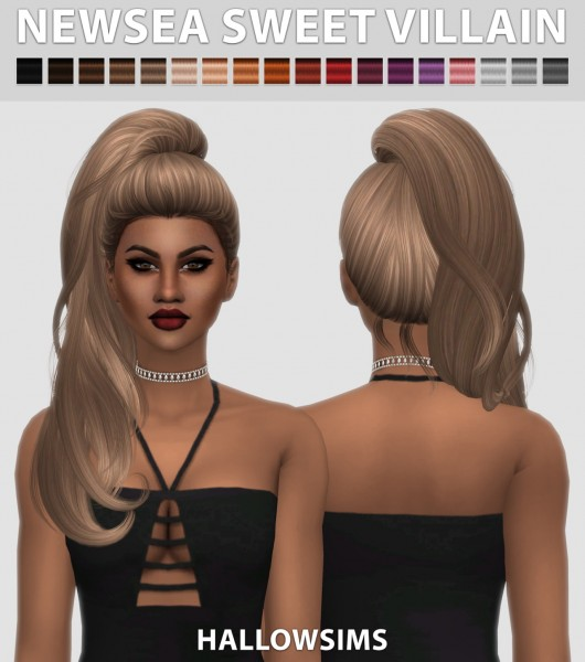 Hallow Sims: Newsea`s Sweet Villain hair retextured for Sims 4