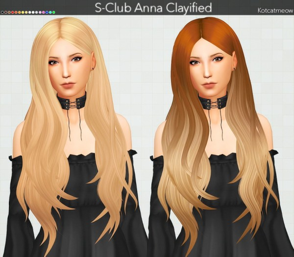 Kot Cat: S Club Anna Hair Clayified for Sims 4